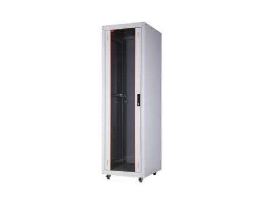 """Шкаф напольный 19"""" 42U Estap EUROline EU42U66GF1R1 600x600mm передняя дверь одностворчатая стекло с металлической рамой слева и справа задняя дверь одностворчатая сплошная металлическая серый"""