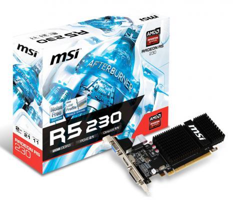 Видеокарта 2048Mb MSI R5 230 PCI-E GDDR3 64bit VGA DVI HDMI HDCP R5 230 2GD3H LP Retail