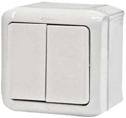 Двухклавишный переключатель на 2 направления Legrand Quteo IP44 782301 Белый выключатель двухклавишный наружный бежевый 10а quteo