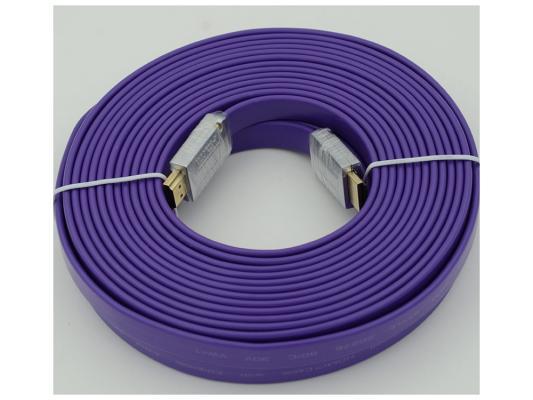 Кабель HDMI 10.0м Ver.1.4 FLAT Purple jack позолоченные контакты плоский