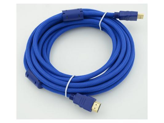 Кабель HDMI 5.0м Gembird Ver.1.4 Blue jack ферритовые кольца позолоченные контакты 794272