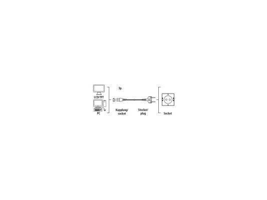 Кабель питания для бытовой электроники 1.5м Hama H-44219 с заземлением черный бытовой удлинитель с заземлением volsten s 3x1 5 z 9311