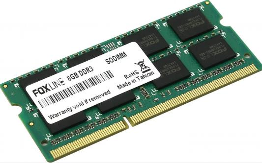 Оперативная память для ноутбука 8Gb (1x8Gb) PC3-12800 1600MHz DDR3 SO-DIMM CL11 Foxline FL1600D3S11L-8G оперативная память 8gb pc3 12800 1600mhz ddr3 dimm foxline fl1600d3u11l 8g