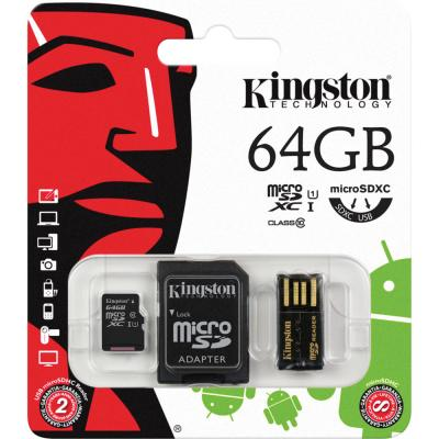 Карта памяти Micro SDXC 64Gb Class 10 Kingston Mobility Kit MBLY10G2/64GB + адаптер SD + USB-картридер micro securedigital 128gb kingston sdxc class 10 sdc10g2 128gbsp