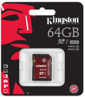 Карта памяти SDXC 64GB Class 10 Kingston SDA3/64GB sdxc kingston 64gb class10 g2 video sd10vg2 64gb