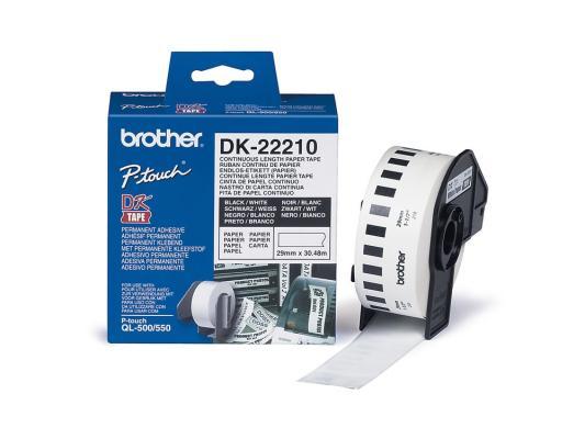 Бумажная клеящаяся лента 29ммх30.5м Brother DK22210 лента brother dk22210