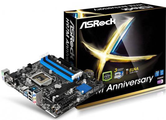 Мат. плата для ПК ASRock H97M Anniversary Socket 1150 H97 4xDDR3 1xPCI-E 16x 2xPCI-E 1x 6xSATAIII mATX Retail
