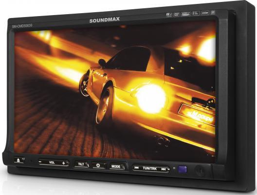 """Автомагнитола Soundmax SM-CMD5003G 7"""" 480х234 CD DVD USB MP3 FM RDS SD MMC 1DIN 4x50Вт пульт ДУ черный"""