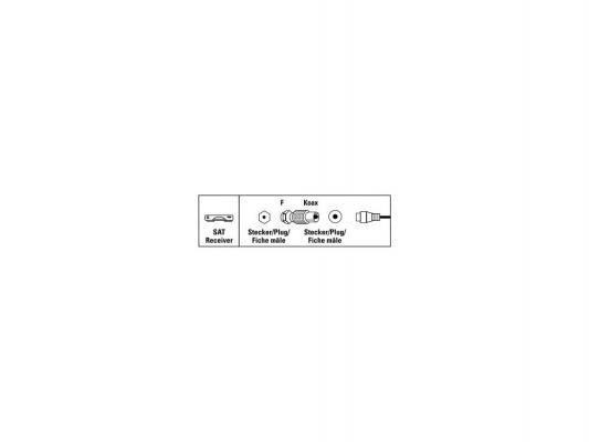 Адаптер антенный Hama H-44108 спутниковый коаксиальный (m) - F-штекер (m) металлический