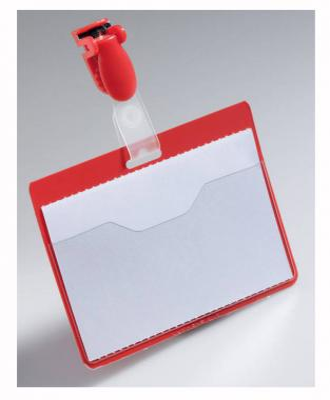 Бейдж Durable горизонтальный 90x60мм с карманом с клипом-зажимом красный 25шт 810603