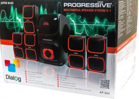 Колонки Dialog Progressive AP-555 5x12 + 40 Вт USB+SD reader черный