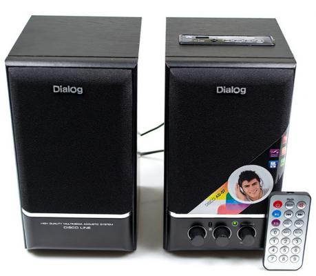 Колонки Dialog Disco AD-07 2x12Вт черный колонки dialog disco ad 07 2 0 brown 24 вт 20 20000 гц fm пульт ду mini jack usb micro sd mdf 220v