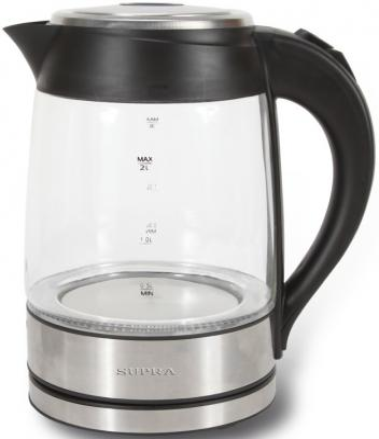 Чайник Supra KES-2005 2200 Вт серебристый чёрный 2 л металл/стекло supra kes 2301 grey