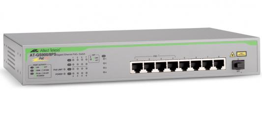 Фото - Коммутатор Allied Telesis AT-GS900/8PS-50 неуправляемый 8 портов 10/100/1000Mbps PoE+ 1SFP коммутатор allied telesis at fs708 poe 50 неуправляемый 8 портов 10 100mbps 1xsfpuplink poe