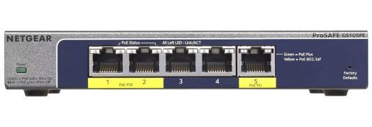 Коммутатор Netgear GS105PE-10000S неуправляемый 5 портов 10/100/1000Mbps