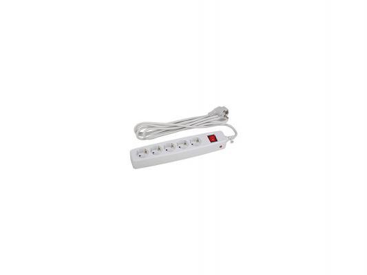 Сетевой фильтр Эра SF-5es-4m-W белый 5 розеток 4 м эра sf 1e w white сетевой фильтр