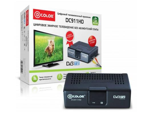 Тюнер цифровой DVB-T2 D-Color DC911HD ECO d color dc911hd dvb t t2 eco