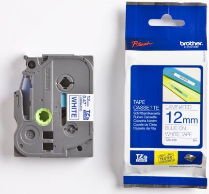 Плёнка для наклеек Brother TZE-233 синий шрифт на белой основе 12ммx8м brother hq 12