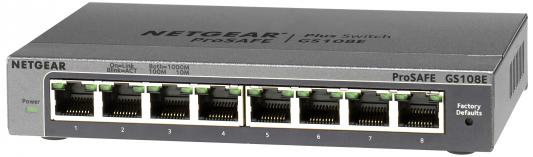 Коммутатор NETGEAR GS108E-300PES управляемый 8 портов 10/100/1000Mbps