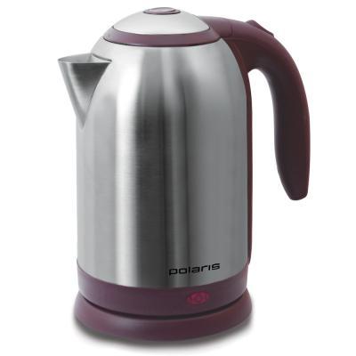 Чайник Polaris PWK 1864CA 1800 Вт серебристый бордовый 1.8 л металл чайник polaris pwk 1765car 2200вт 1 7л металл черный серебристый