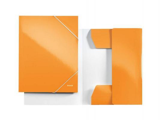 Папка с 3-мя клапанами Leitz WOW ламинированный картон оранжевый 39820044