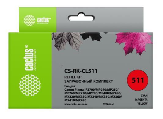 Купить Заправка Cactus CS-RK-CL511 для Canon MP240/ MP250/MP260/ MP270 3x30мл цветной