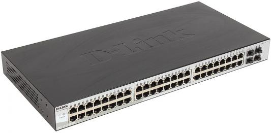 Коммутатор D-LINK DGS-1210-52/ME/A1A управляемый 48 портов 10/100/1000Mbps + 4 порта SFP коммутатор d link dgs 3120 48tc b1ari управляемый 48 портов 10 100 1000mbps 4 combo 10 100 1000base t sfp 2x10g cx4 for uplinks