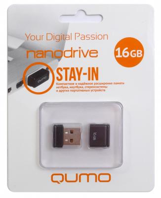 Флешка USB 16Gb QUMO NanoDrive USB2.0 черный QM16GUD-NANO-B usb флешка qumo keeper 16gb silver qm16gud keep usb 2 0 microusb