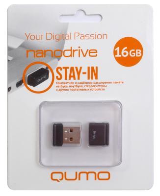 Флешка USB 16Gb QUMO NanoDrive USB2.0 черный QM16GUD-NANO-B