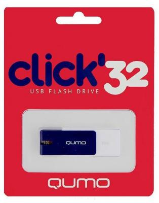 Флешка USB 32Gb QUMO Click USB2.0 бело-синий QM32GUD-CLK-Sapphire