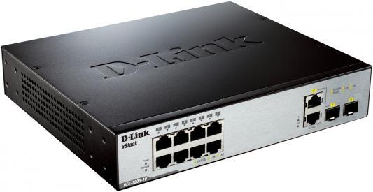 Коммутатор D-LINK DES-3200-10/C1A управляемый 8 портов 10/100Mbps 2 combo GbLAN/SFP коммутатор cisco sg200 50 48 портов 10 100 1000mbps 2x combo gblan sfp slm2048t eu