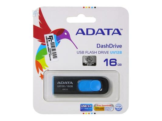 Фото - Флешка USB 16Gb A-Data UV128 AUV128-16G-RBE сине-черный usb flash drive 64gb a data dashdrive uv128 usb 3 0 auv128 64g rby
