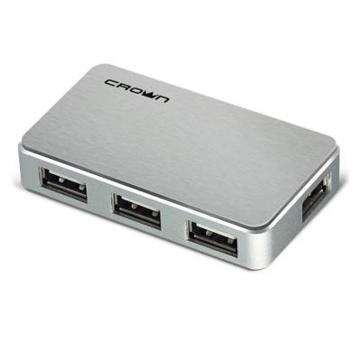 Концентратор USB 2.0 Crown CMH-B19 4 x USB 2.0 серебристый