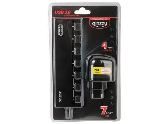 Концентратор USB Ginzzu GR-388UAB 7 портов + адаптер