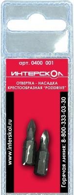 Купить Отвертка-насадка Интерскол крестообразная Pozidriv PZ1 25мм 2шт 0400 001