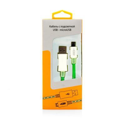Кабель USB-microUSB 1.0м Gmini mCable MEL801 зеленая подсветка зеленый