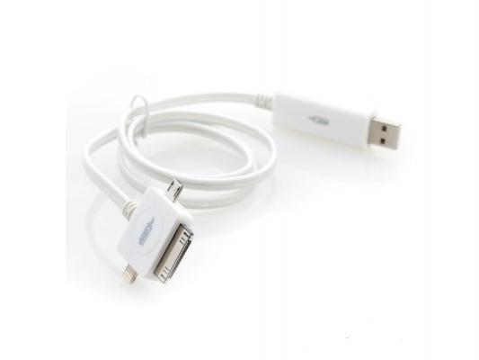 Кабель Gmini mCable MEL400 White, microUSB+30pin+Lightning кабель с голубой подсветкой, 80 см