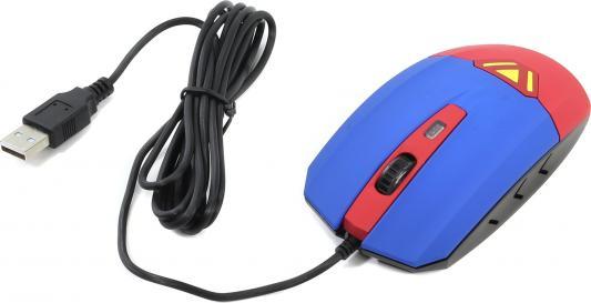 Мышь проводная CBR CM-833 Superman синий красный USB мышь cbr cm 833 superman красный синий usb