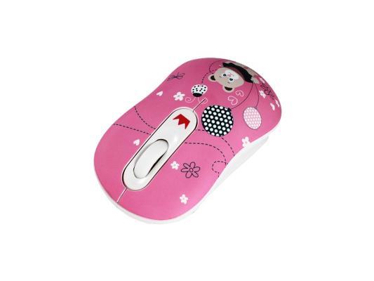 Картинка для Мышь беспроводная Crown CMM-928W розовый рисунок USB CM000001190