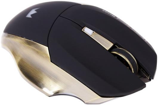 Мышь беспроводная Crown Gaming CMXG-605 чёрный золотистый USB мышь crown cmxg 605 беспроводная игровая для pc