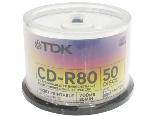 Диски TDK CD-R 700Mb 52x Photo Print Cake Box 50шт 19514