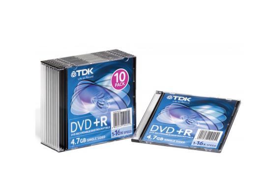 Диски TDK DVD+R 4.7Gb 16x SJC 10шт t19447