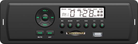 Автомагнитола Rolsen RCR-103G бездисковая USB MP3 FM SD MMC 1DIN 4x45Вт зеленая подсветка черный