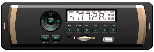 Автомагнитола Rolsen RCR-104G бездисковая USB MP3 FM SD MMC 1DIN 4x45Вт зеленая подсветка черный
