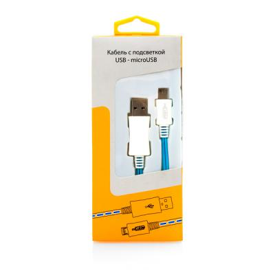 Кабель USB-microUSB 1.0м Gmini mCable MEL801 голубая подсветка голубой