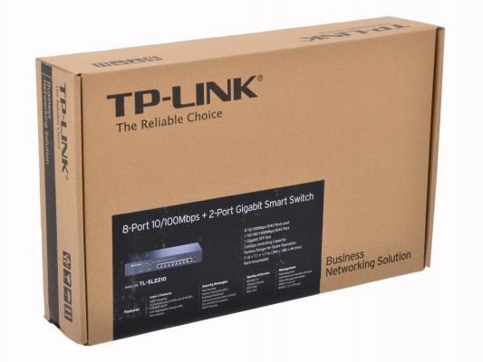 Коммутатор TP-LINK TL-SL2210 управляемый 8 портов 10/100Mbps + 2-Port Gigabit Smart Switch