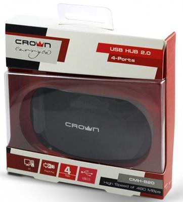 Концентратор USB Crown CMH-B20 4 порта черный CM000001177