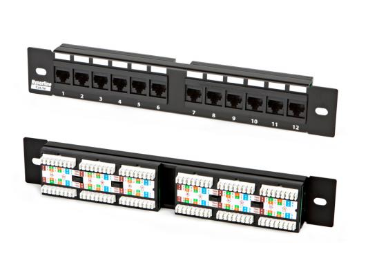 "Патч-панель Hyperline PP-10-12-8P8C-C5e-110D 10"" 1U 12 портов RJ-45 полн. экран категория 5e Dual IDC"