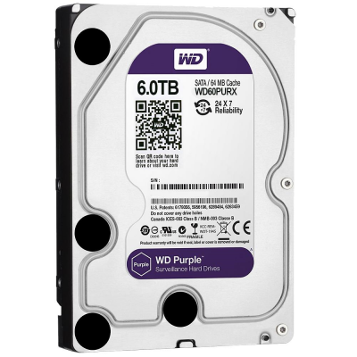 Жесткий диск 3.5 6 Tb 5400rpm 64Mb cache Western Digital SATAIII WD60PURX жесткий диск 3 5 1 tb 7200rpm 64mb cache western digital black sataiii wd1003fzex