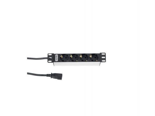 Блок розеток Hyperline SHT10-4SH-IEC черный 4 розетки